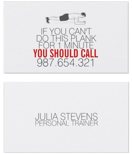 Zazzle UK - Plank Personal Trainer Business Card - personal trainer business cards