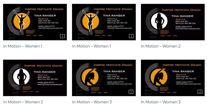 The Gym House - In Motion Woman's Business Card - personal trainer business cards