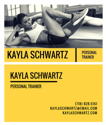 Canva - Yellow Personal Trainer Business Card - personal trainer business cards