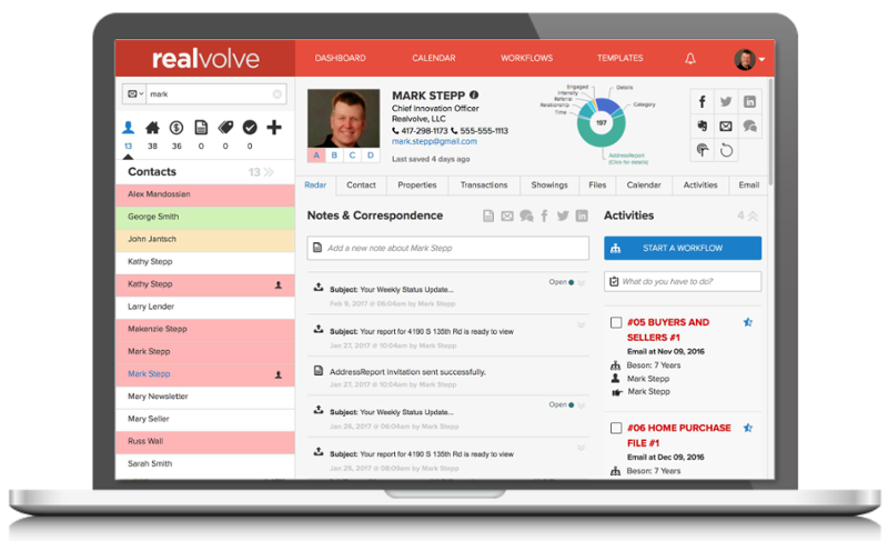 RealVolve Dashboard - commercial real estate crm