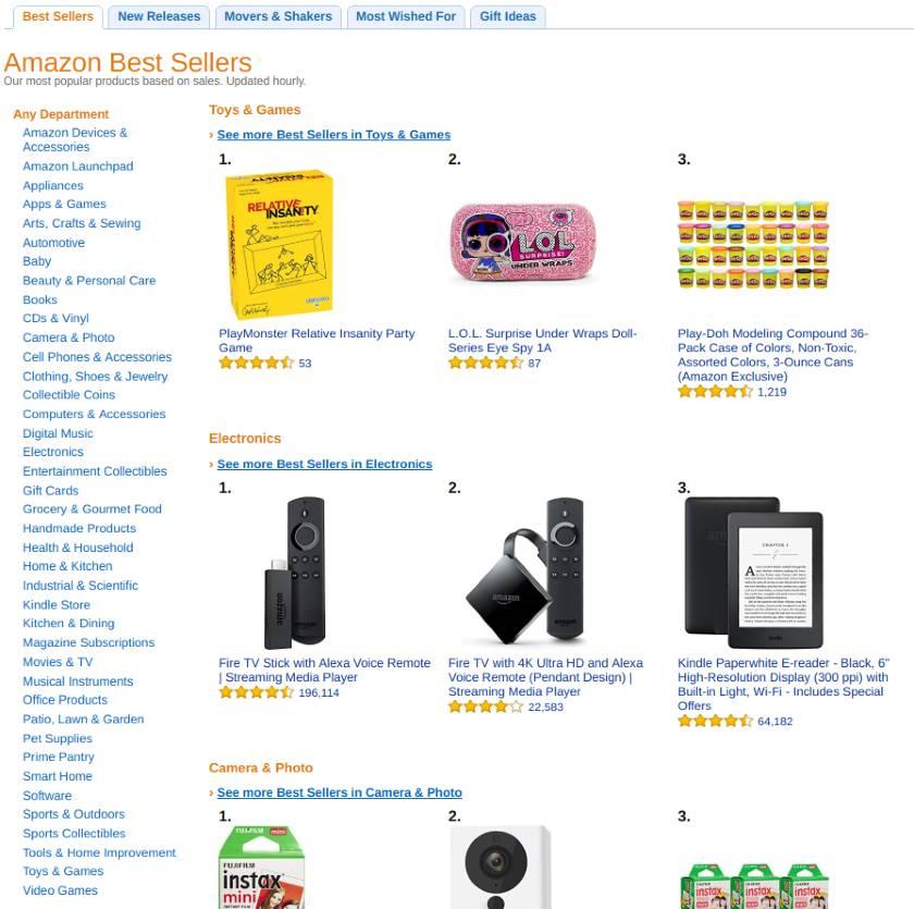 Screenshot of Amazon Best Sellers