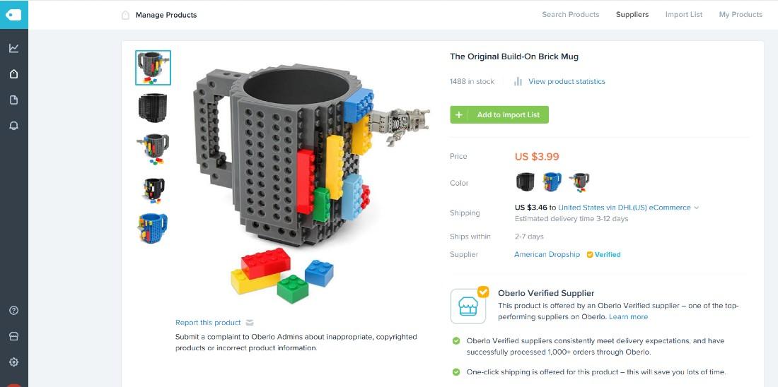 Screenshot of Brick Mug Product on Shopify