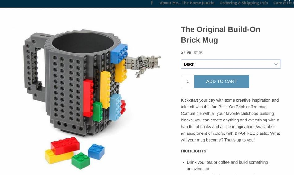 Screenshot of Brick Mug on Shopify
