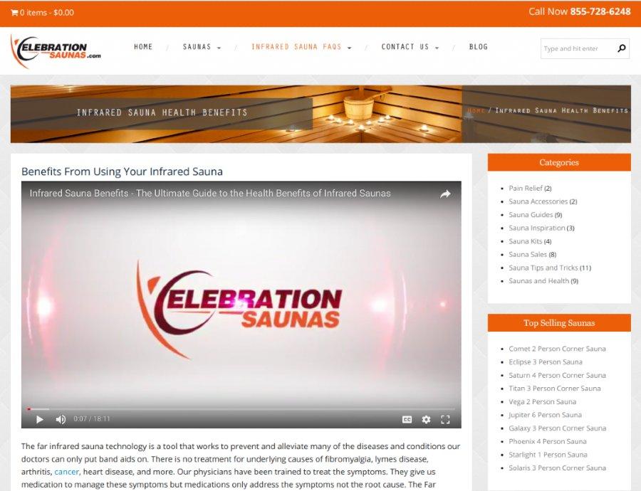 Screenshot of DeCicco's Celebration Saunas Website