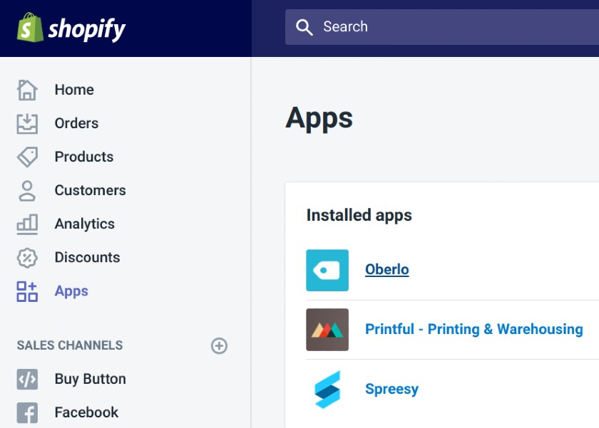 Screenshot of Installed Apps on Shopify