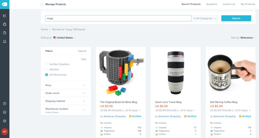 Screenshot of Mug Product Search on Shopify