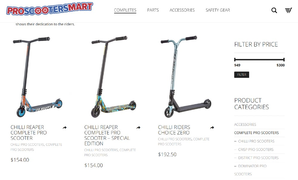 Screenshot of ProScootersMart Products