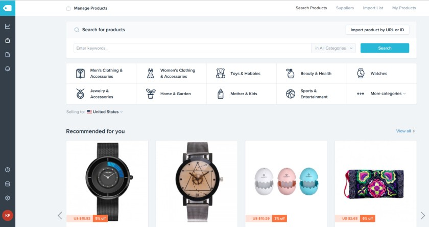 Screenshot of Products on Shopify