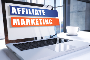 Laptop with a web page defining affiliate marketing