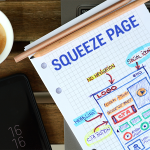 Notepad with a diagram explaining what a squeeze page is