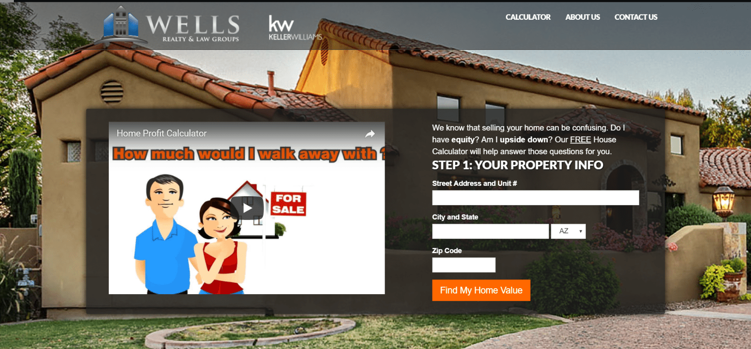 wells realty keller williams Real estate landing page