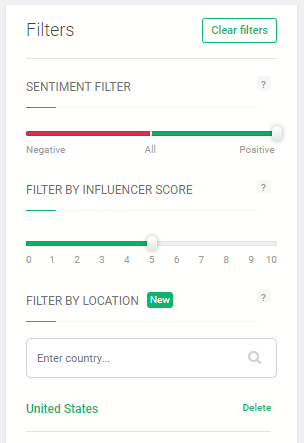 Brand 24's Sentiment and Location Filter - instagram influencer marketing