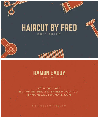 hair stylist business cards example with illustrated borders