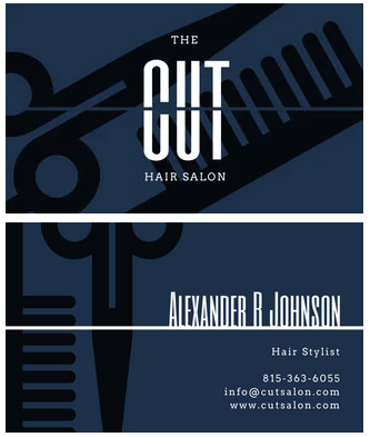 hair stylist business card example with midsection cut