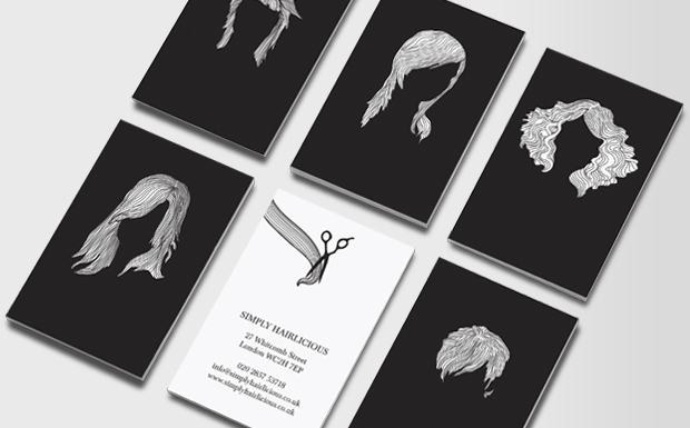 hair stylist business card example with different styles