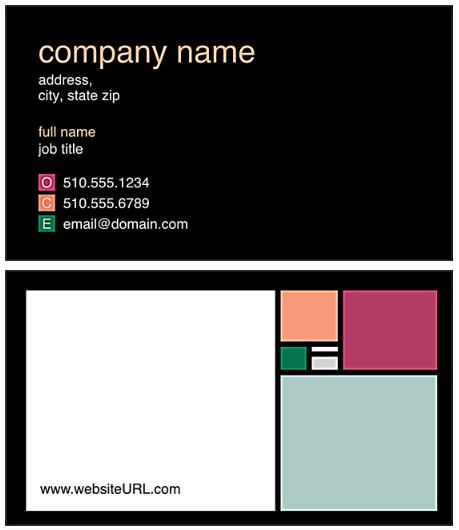 hair stylist business card example with colored squares
