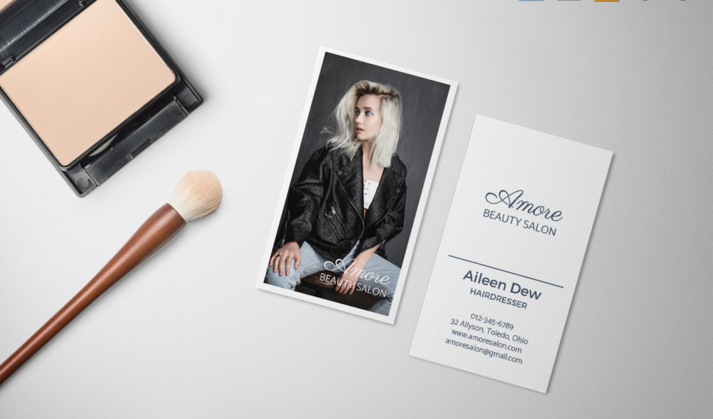 elegant and edgy hair stylist business card example