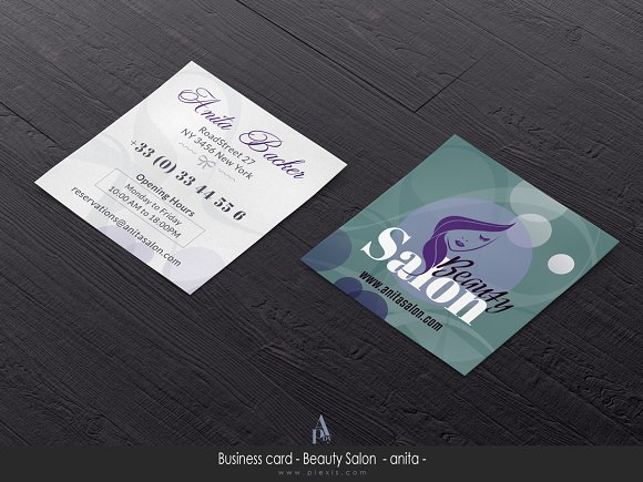 square hair stylist business card example