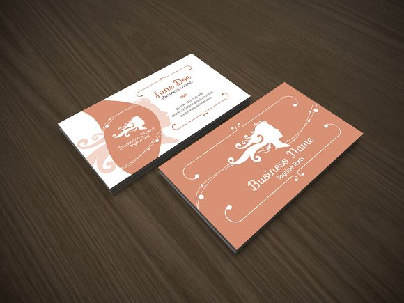 hair stylist business card example with faminine silhouettes