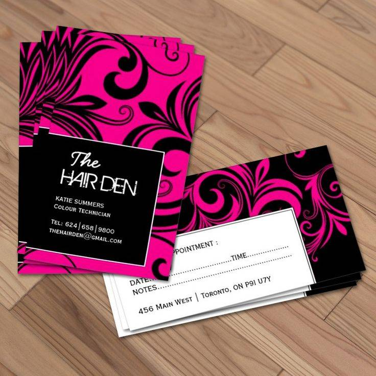 hair stylist business card example with appointment reminder
