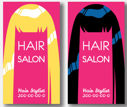 hair stylist business card example with playful illustrations