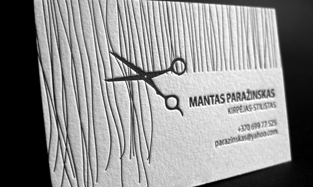 hand drawn letterpress hair stylist business card example