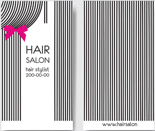 hair stylist business card example with linear patterns