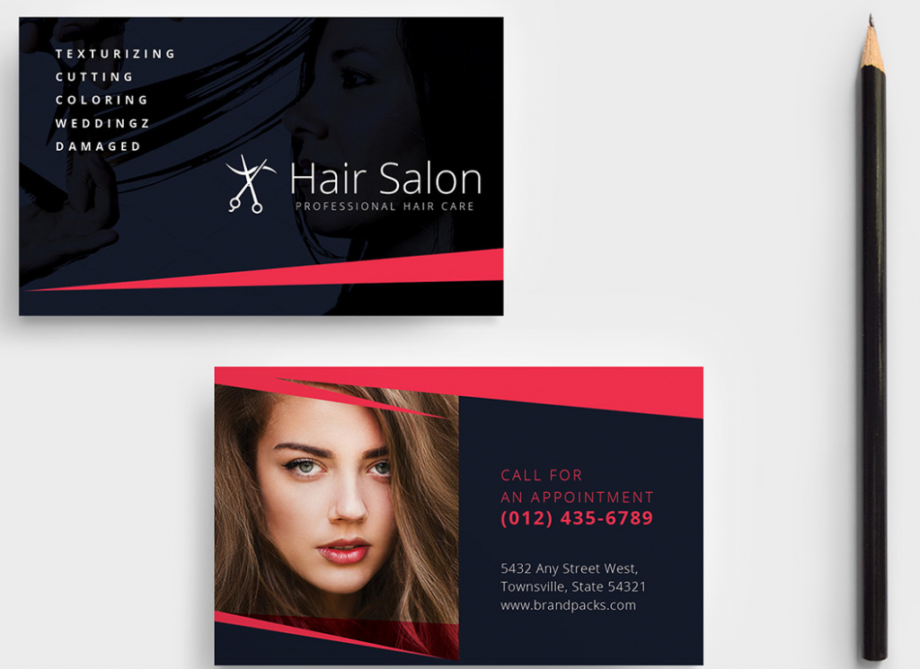 hair stylist business card example with before and after shots