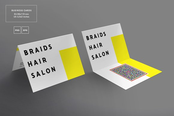 folded hair stylist business card example