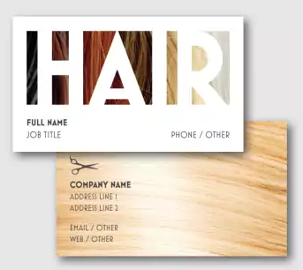 hair stylist business card example with hair colors