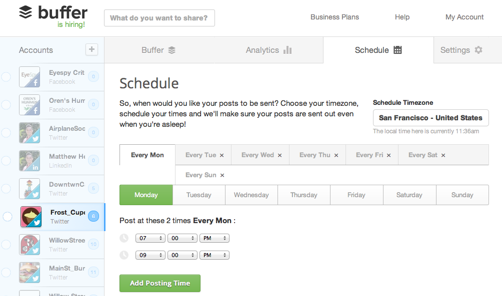 Buffer - social media scheduling tools