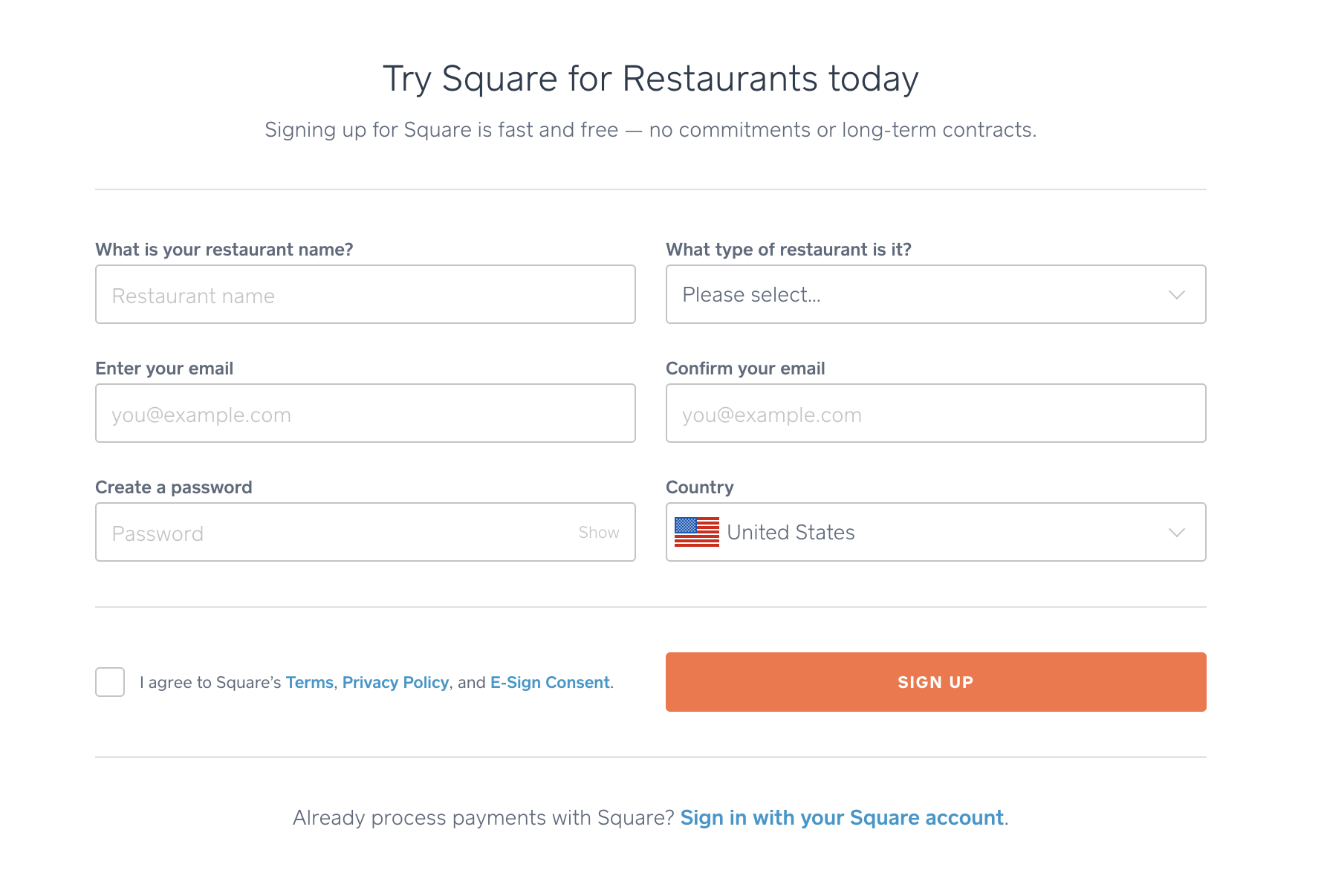 Square for Restaurants Sign-up Page - square for restaurants