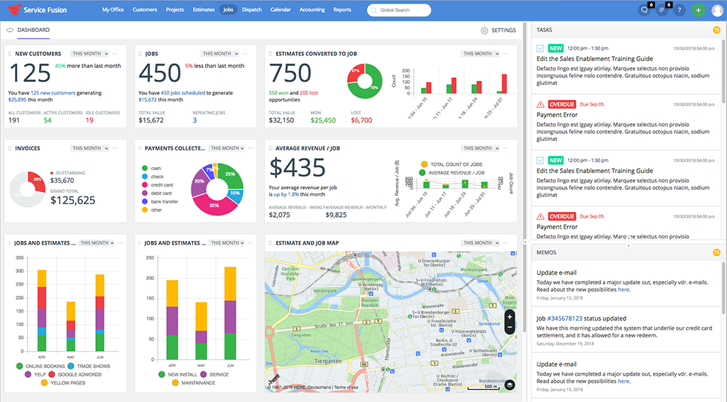 ServiceFusion Dashboard - field service management software
