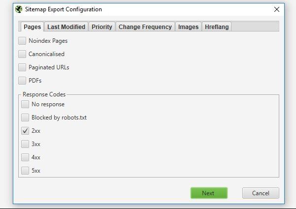 Screaming Frog XML Sitemap - seo audit