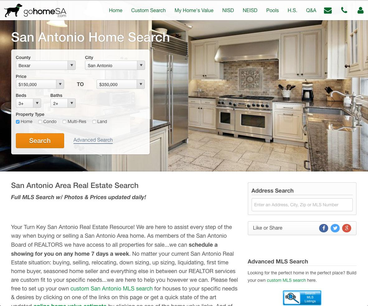 Real Geeks - real estate web design