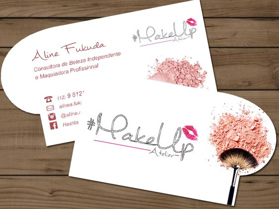 Experiment with Unique Shapes - makeup artist business cards