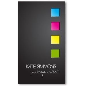 Use Color Only as Accent - makeup artist business cards
