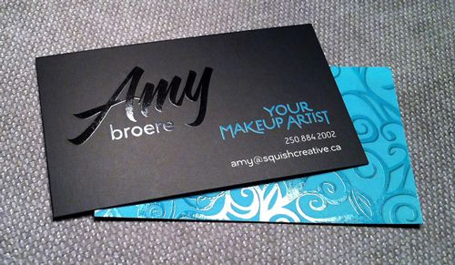 Be Tasteful When Adding Foil Elements on Your Design - makeup artist business cards