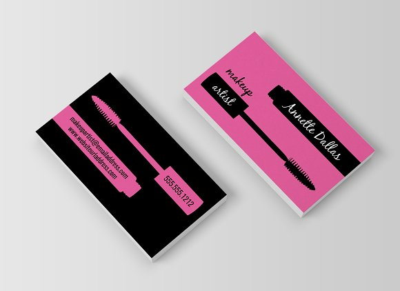 Create a Mirror Image Design on Both Sides - makeup artist business cards