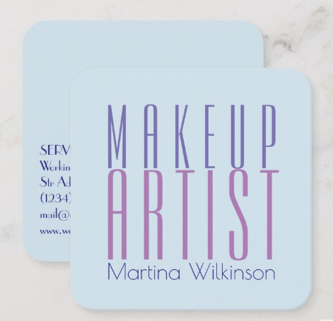 Send a Clear Message with Typography - makeup artist business cards