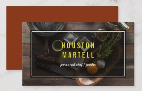 Elegant Overlay Design - chef business cards