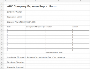 Free Employee Expense Report Form Template