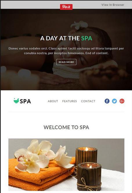 Screenshot of Spa Newsletter Template