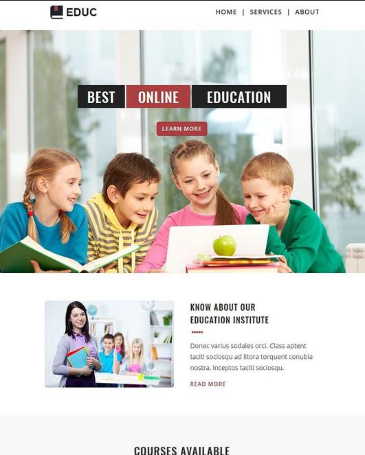 Screenshot of School Email Newsletter Template
