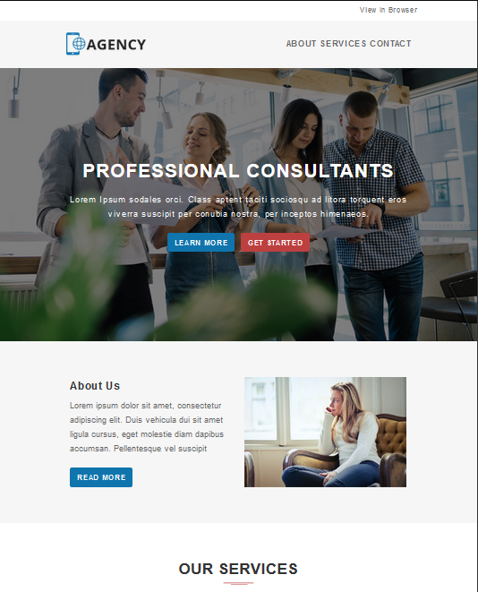 Screenshot of Professional Consultants Introduction Newsletter Template