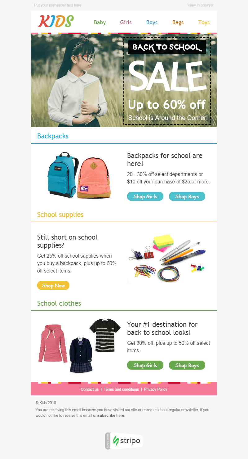 Screenshot of Back to School Email Template