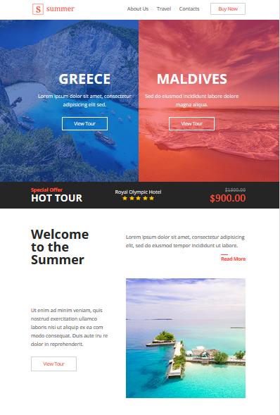 Screenshot of Summer Travel Newsletter Template