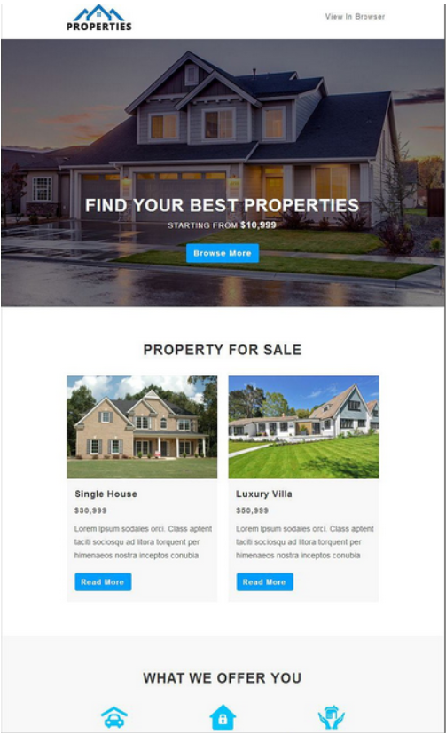Screenshot of Real Estate Listings Email Newsletter Template