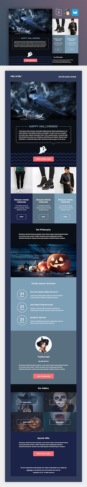 Screenshot of Halloween Themed Newsletter Template