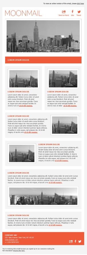Screenshot of Free Simple Orange Newsletter Template